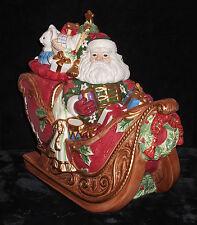 FITZ & FLOYD 2003 CHRISTMAS LARGE SANTA IN SLEIGH COOKIE JAR MINT w/ CERTIFICATE