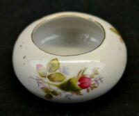 Moss Rose Trinket  or Ring Dish White With Pink Roses and Gold Trim Vintage