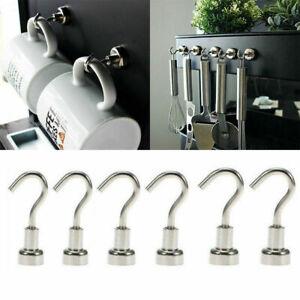 10/12/16mm Neodymium Magnet Hooks Heavy Duty Hanger Pothook For Refrigerator