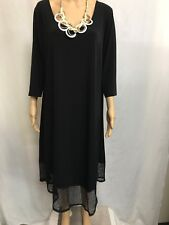 TAKING SHAPE SIZE S BLACK, 3/4 SLEEVE MESH TRIMMED ASYMMETRICAL LAYERING DRESS