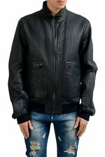 Dolce & Gabbana Men's Navy Blue Full Zip Leather Jacket US L IT 52