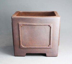 Tokoname Square Bonsai Pot by Reihou (Seizan kiln), #a5010 : 112*110*H95mm