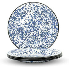 "Enamelware Classic Round Dinner Plate, Navy Blue Marble/Black Rim, 10"", Set of 4"
