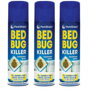 3 X Bed Bug Spray Kills Bed Bugs Fleas Ticks Lice & Mites 200ml cans PestShield