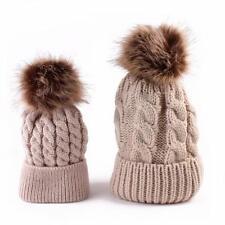 2 Pcs Mother & Child Baby Warm Winter Beanie Fur Pom Hat Crochet Ski Cap KH*