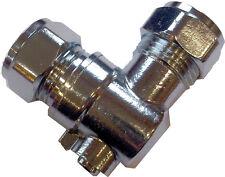 Válvula de aislamiento 15mm EN ÁNGULO Compresión Codo de 90 grados cromo plateado