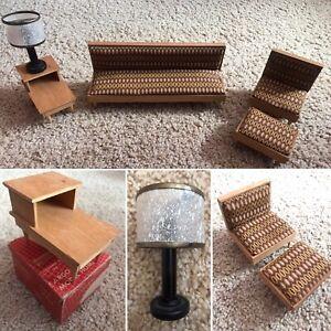 Vintage! ARGO Danish Modern 1958 Barbie furniture SOFA TABLE CHAIR OTTOMAN LAMP