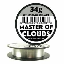 SS 316L - 250 ft. 34 Gauge AWG Stainless Steel Resistance Wire 0.16 mm 34g 250'