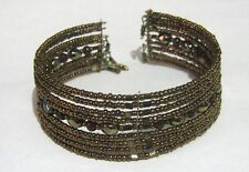Lovely open backed cuff style bracelet with bronze brown mini beads adjustable