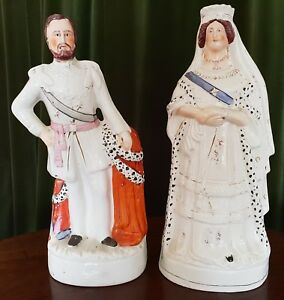 Staffordshire Portrait Pair Of Queen Victoria And The Prince Of Wales c.1880