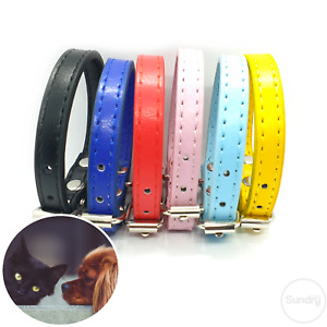 Cat Collar PU Leather Adjustable Pet Puppy Kitten Buckle Durable High Quality UK