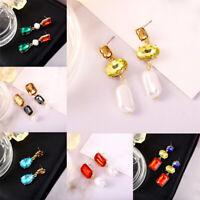 Elegant Lady Crystal Water droplets Pearl Long Acrylic Earring Drop/Dangle Stud