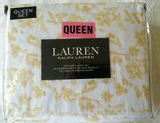 Ralph Lauren QUEEN Golden Yellow Fall Floral 4pc Bed Sheet Set New in Package