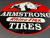 "VINTAGE ARMSTRONG RHINO FLEX TIRES 12"" METAL ADVERTISING GAS OIL CAR TRUCK SIGN"