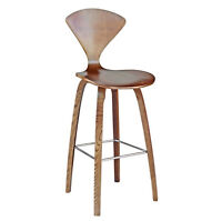 """Walnut Finish Wooden Curved Molded Plywood Counter Stool Norman Stl 25"""" Seat Hgt"""
