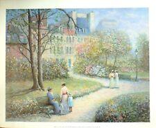 """Rene Morse """"Happy-Go-Lucky Under a Garret of Paris""""  Impressionist Paris garden"""