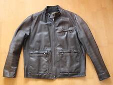 braun/graue Cafe Racer Leder Jacke * Vintage Style Leatherjacket Rockabilly