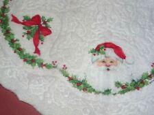 """Vintage Ruth Morehead Christmas Tree Skirt Santas Embossed Felt 34"""""""