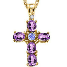 GORGEOUS 3/4 CARAT AMETHYST & TANZANITE 925 STERLING SILVER CROSS PENDANT