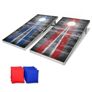 GoSports LED Rustic Design Cornhole Toss Boards Game Set, Regulation Size