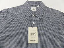 Men's MURANO Linen Check Shirt L Large NEW NWT With Bottom Pockets