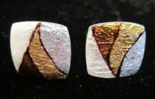 Vintage Modernist SUN EAGLE Japan Glass MOSAIC Cufflinks brown silver gold white