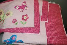THE COMPANY STORE Girls Pink Butterflies Bed QUILT Full/Queen Cotton Butterfly