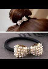 Pearl Bow Hair Band  Bubble Tie