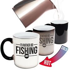 Funny Mugs Drowning Worms Id Rather Be Fishing Fish Fishing Fisher MAGIC MUG