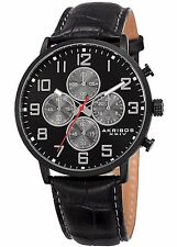 AKRIBOS XXIV ESSENTIAL COLLECTION MATTE DIAL MEN CHRONOGRAPH LEATHER AK854BK.NEW