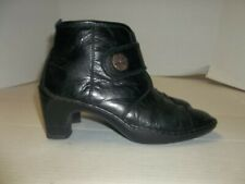 Womens Size 39/8.5 Josef Seibel Black Leather Ankle Boots/Heels