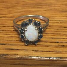 Opal Sapphire Ring Sterling Silver 925 Signed D in a Crown Sz 7 Very Nice