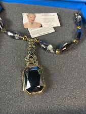 HSN Heidi Daus Deco Bold Statement Beaded Smokey Quartz Color Drop Necklace  NEW