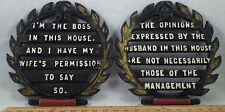 2 Vintage Light Cast Iron Kitchen Trivet Wall Hanging Husband Wife Mgnt Sayings