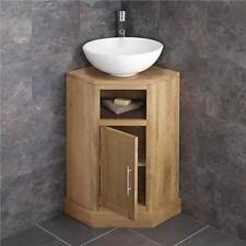 Solid Oak Space Saving Corner Bathroom Freestang Vanity Unit Round Basin Sink