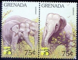 Grenada 1999 MNH 2 Stamps, Elephants, Wild Animals