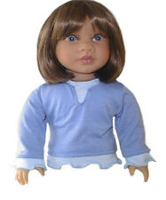 "Blue Two Tone Long Sleeve Top Fits 18"" American Girl Dolls"