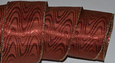Wired Ribbon~Christmas Burgundy Rust~Moire~Zig-Zag~Gold~Wreath~Holiday~Gift~Bow