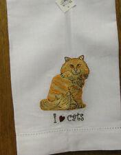 "Nina Lyman ""RESCUE ME NOW"" #45415 LUCY Orange Tabby Cat Tea Towel - Retail Store"