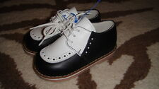 NEW SHOE BE BABY 21 NAVY BLUE WHITE BOYS LEATHER DRESS SHOES US 5.5