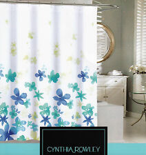 Cynthia Rowley Cotton Blend Shower Curtain Floating Flowers Blues Lime White