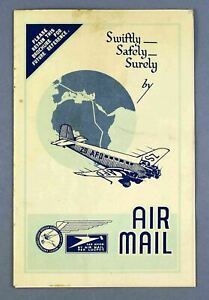 SOUTH AFRICA AIR MAIL RATES POSTING TIMES LUGPOS BROCHURE 1935 JUNKERS JU-52