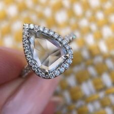 Rose Cut Pear Moissanite 2.48Ct Near White Engagement Ring 925 Sterling Silver
