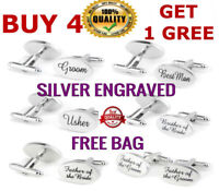 Wedding Cuff links Groom Best man SILVER OVAL mens cufflink usher pageboy Groom