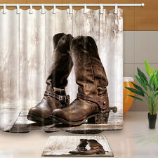 Old cowboy boots Bathroom Shower Curtain Waterproof Fabric w/12 Hooks 71*71inch