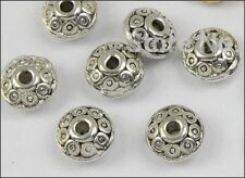 TIbetan Silver Plated Disc Bicone Beads  (40)