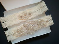 Wedding Bridal Garter Set - Crystal Pearl Wedding Garter Set
