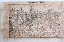 44-53-4 Gravure carte Sébastien Munster vue de la ville de Vienne époque fin 16e
