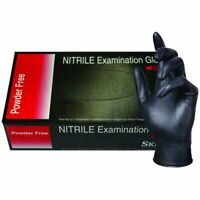 NITRILE Exam Grade disposable rubber Powder Free gloves 100 Pcs - Black - Large