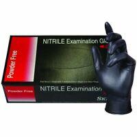 NITRILE Exam Grade disposable 4mil Powder Free gloves 100 Pcs - Black - Small SM